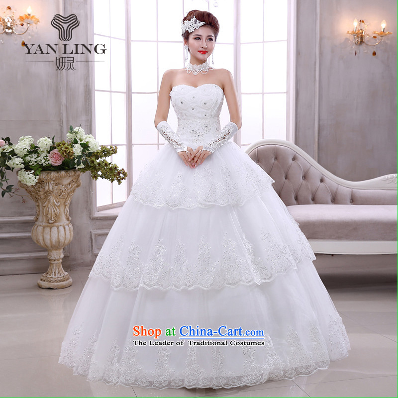 2015 Korean brides light white Korean version of V-neck in the spring to align the marriage straps wedding dresses HS524 White?XL