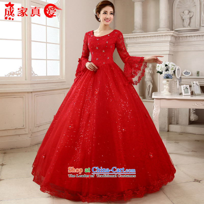 The knot true love wedding dress 2015 new Korean marriages to bind a long-sleeved red alignment with the large number of thin winter clothes graphics red?L