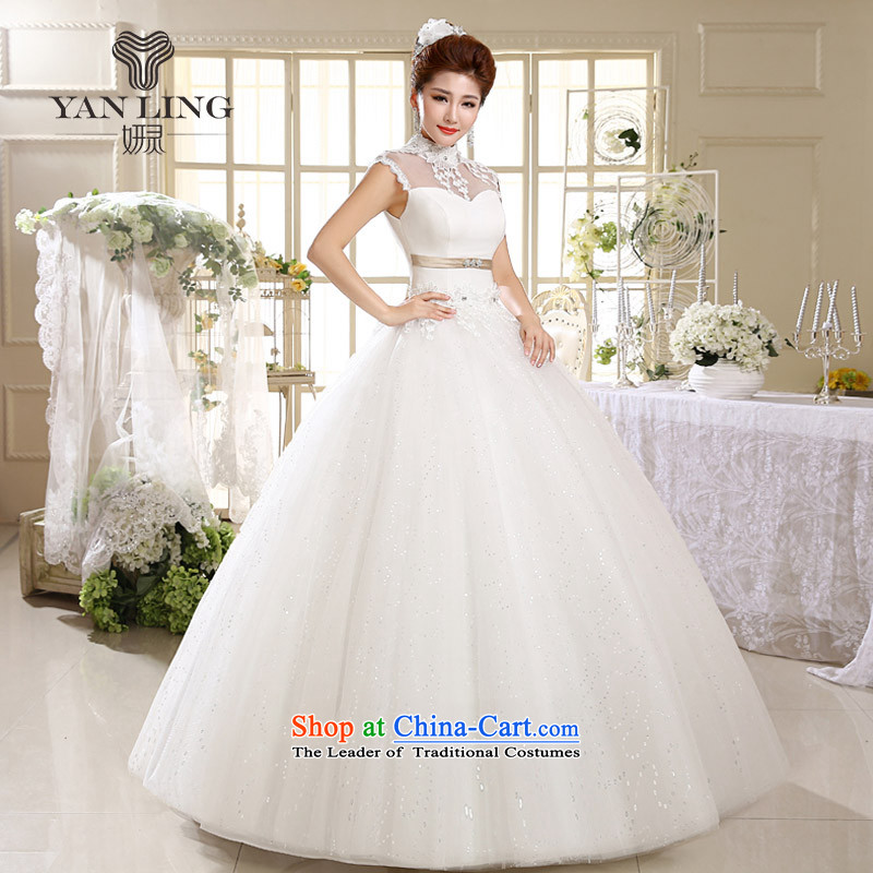 2015 princess Korean white lace retro to align the summer with collar wedding HS537 White聽M