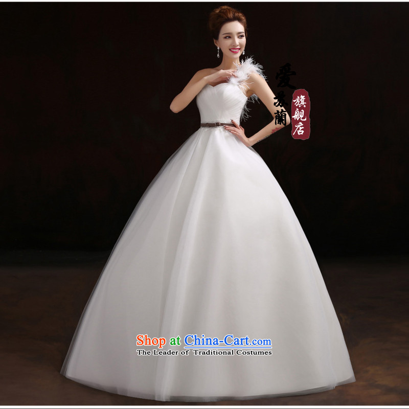 The bride wedding dresses?2015 new Korean Edition click Align the shoulder to graphics thin photography simple winter wedding white?XXXL