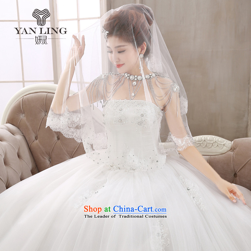 Diamond Jewelry chest anointed bridal Korean wedding dresses to align the new 2015 strap butterfly yarn HS409 White?M marriage