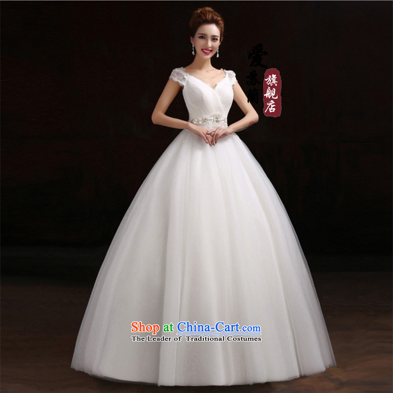 A stylish wedding marriages Wedding?2015 best-selling simple wedding new wedding dresses marriages shoulders retro lace V-Neck upscale white made size do not return Not Switch