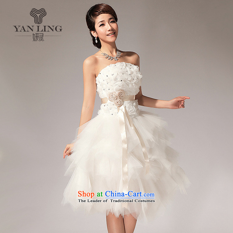 2015 new anointed Chest Flower knee sister bridesmaid small dress short skirt LF112 white?L
