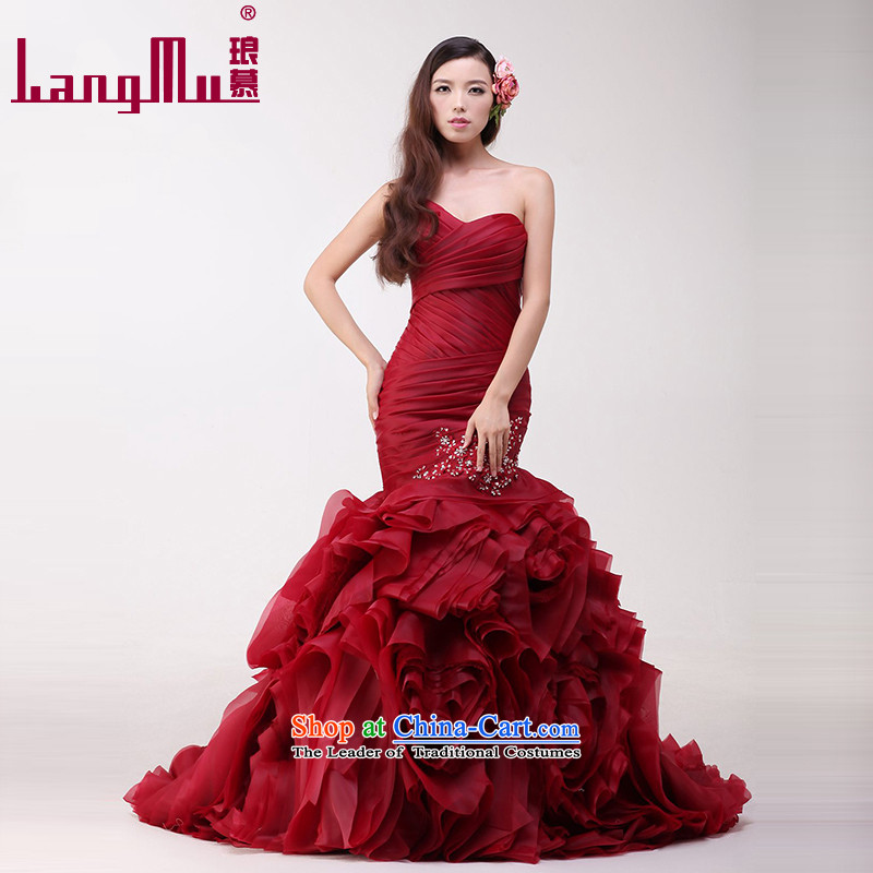 The?new 2015 Luang bride wedding dresses vera Wang wiping the chest and Foutune of flower package wedding weiwei-wine red high-end custom