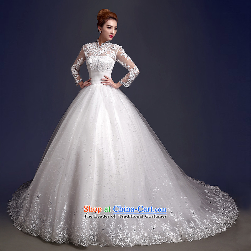 The color is to align the bride her wedding dress 2015 new wedding spring winter thick retro back long-sleeved wedding tail winter white high-end up doing pro-contact customer care MM
