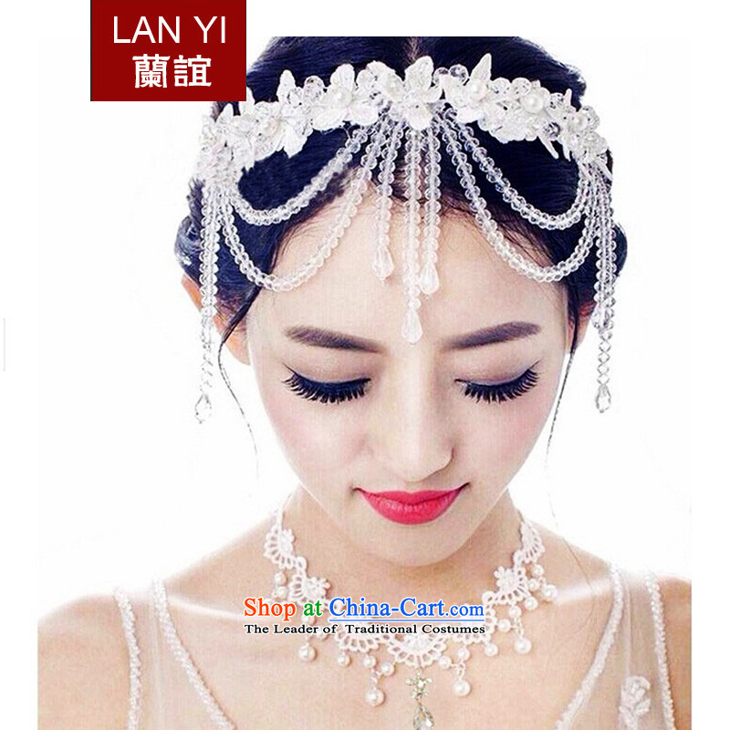 The Friends of Korean brides Head Ornaments crystal edging head ornaments of international marriage yarn accessories jewelry White