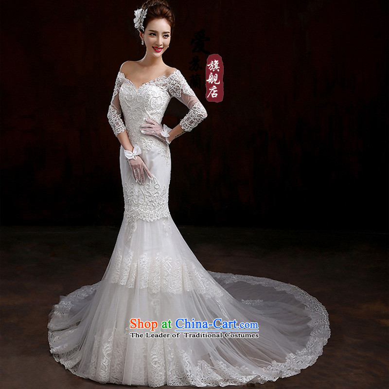 2015 new long-sleeved wedding winter smearing the Word version of large Korean shoulder code lace custom bride wedding dresses White?M