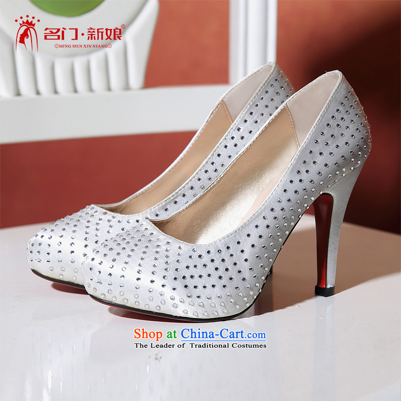 A white Korean brides high-heel shoes聽2015 new marriages of diamond bride shoes 095 34