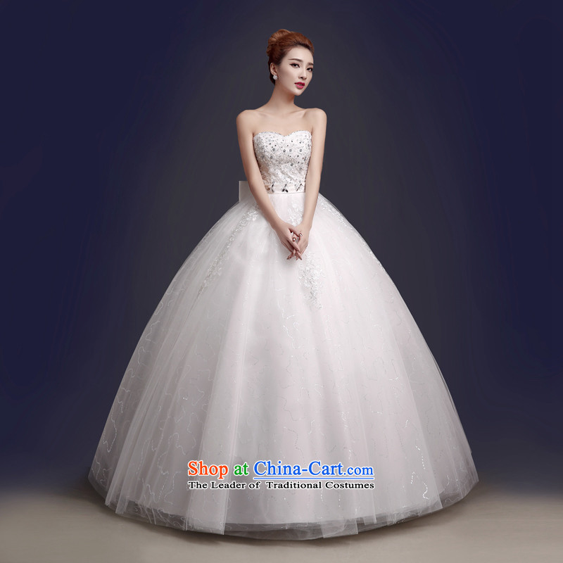 The color is Windsor autumn and winter 2015 Korean Bridal Fashion white strap Lace Embroidery diamond bon bon skirt dress chest to wipe the wedding white White�XL