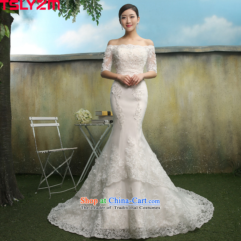 Tslyzm bride lace crowsfoot wedding dresses tail of a field and two chest wearing shoulder autumn 2015 Summer New Foutune of Sau San VIDEO IN?A of the thin cuff word shoulder + wiping the chest tail?S