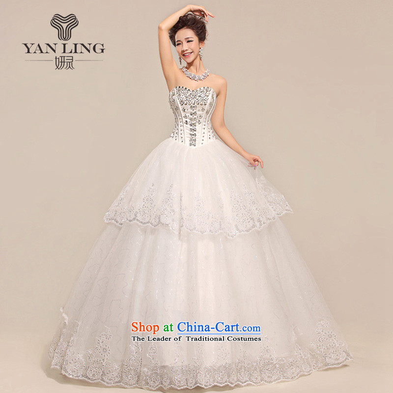 Charlene Choi Ling bride wedding dresses spring euro version wedding new ultra-thin graphics diamond touching the princess luxurious wedding HS517 m White�S