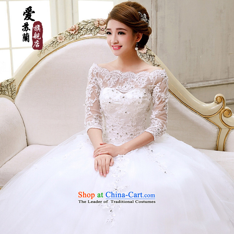 The new bride wedding dress lace a field for half a long-sleeved Korea shoulder version princess retro bridal dresses cuff size is not made of white and not switch