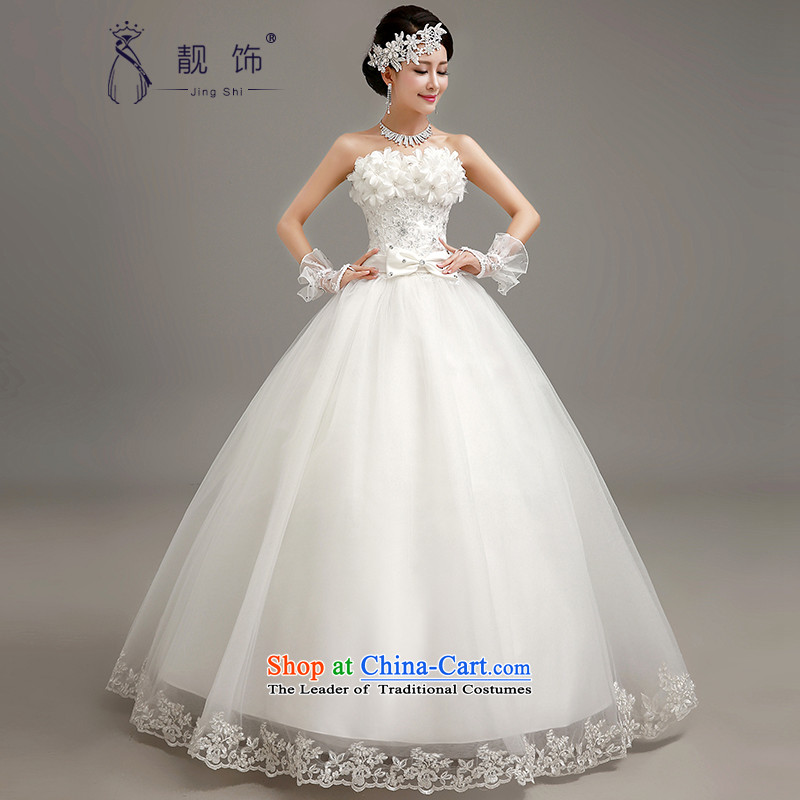 The new 2015 International Friendship Korean lace anointed chest wedding fashion stereo flowers to align graphics thin bride wedding dress white flowers?M