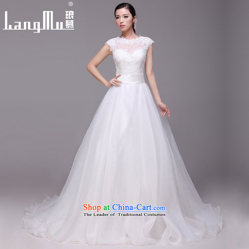 The new 2015 Luang round-neck collar wedding dresses Lace Embroidery zipper tail wedding customised S