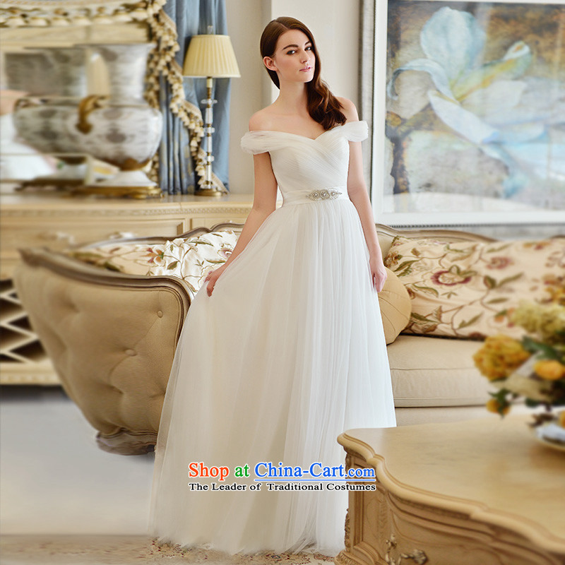 The word full Chamber Fong shoulder wedding dresses 2015 new tail spring and summer minimalist in sweet waist straps aligned with chest?173-S land