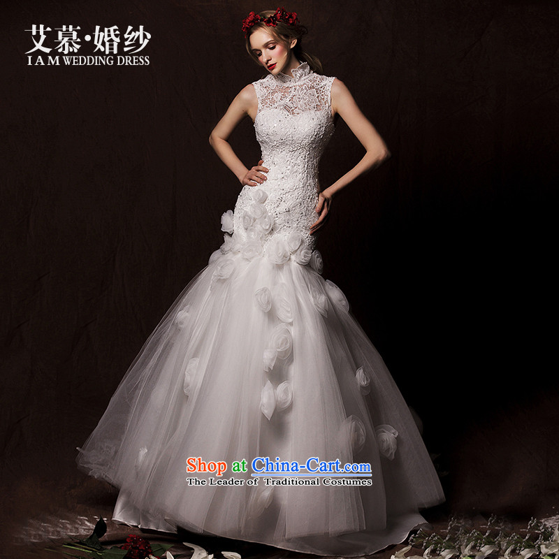 The wedding dresses HIV 2015 new summer Tung Crowsfoot Korean to align the engraving wedding white�L