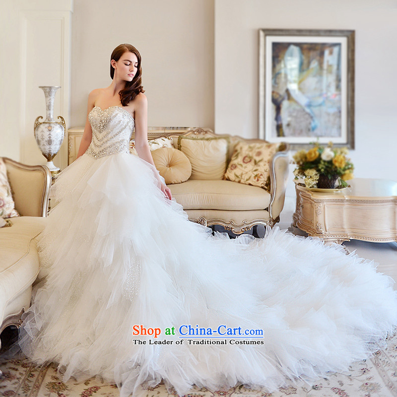 Full Chamber Fong Muse wedding dresses 2015 spring wiping the chest ultra long feathers tail bride wedding bon bon tail 100cm 173-XL skirt