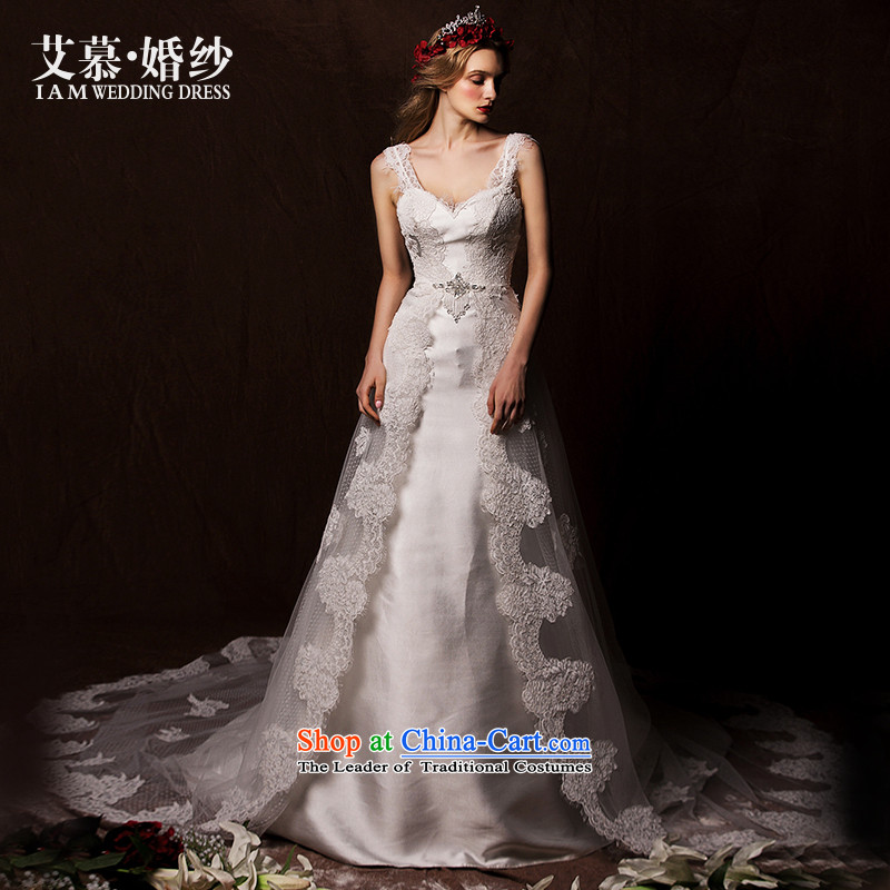 The wedding dresses HIV 2015 New Tsing Cayman shoulders deep V lace long tail wedding White?M