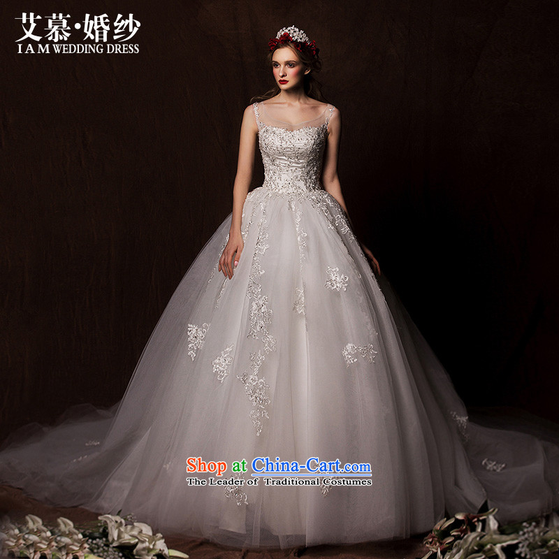 The wedding dresses HIV?2015 New Concept cloud shoulders Top Loin bon bon skirt lace long tail wedding White?M