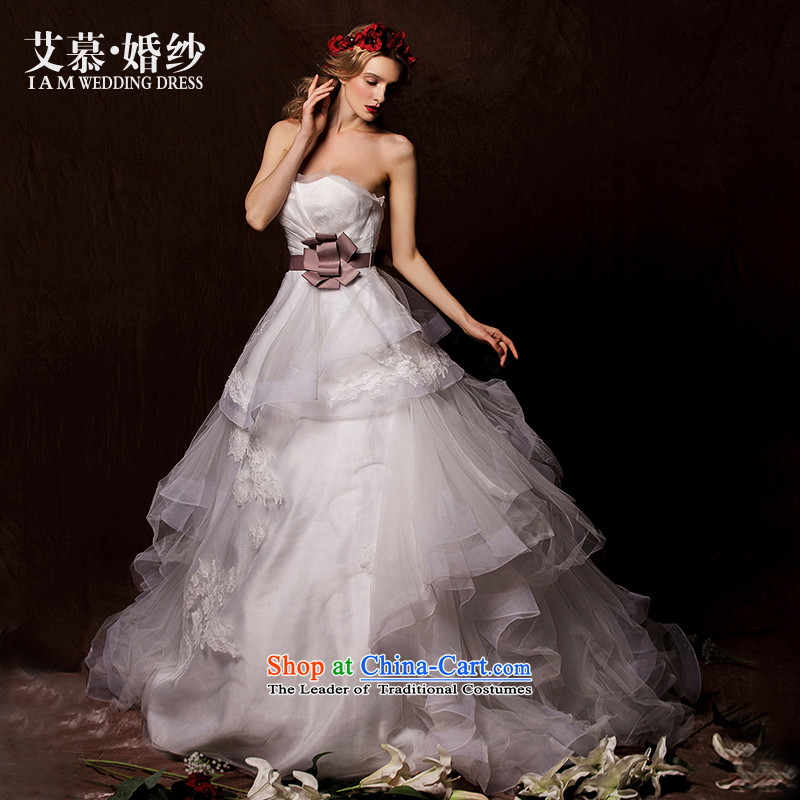 The wedding dresses HIV�15 New dream Park wiping the breast height waist bon bon skirt lace tail wedding white燣