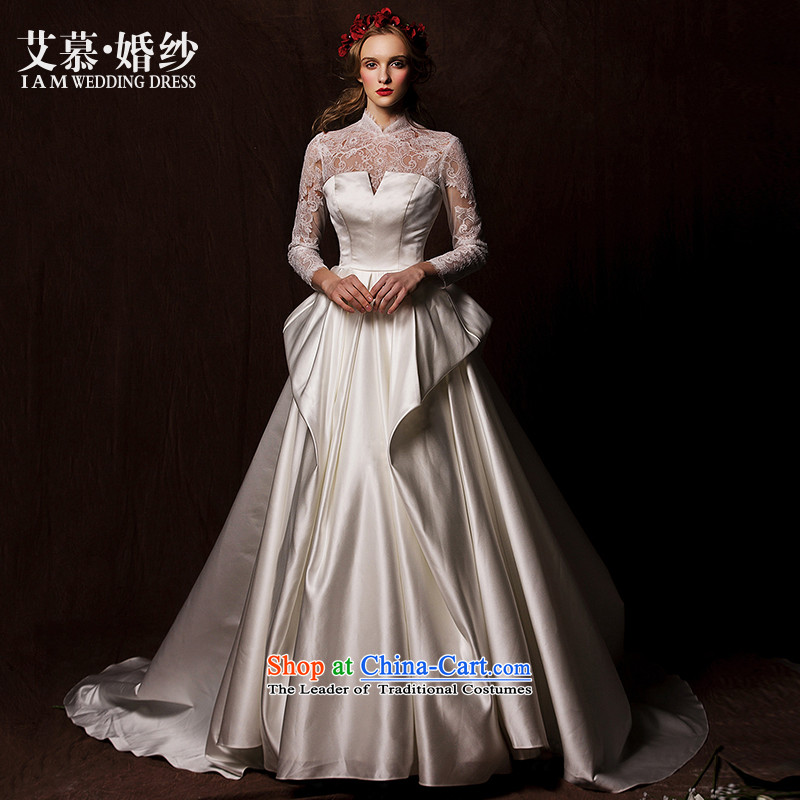 The wedding dresses HIV?2015 new nansei lace long-sleeved retro satin long tail wedding White?M