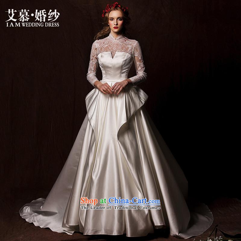The wedding dresses HIV�2015 new nansei lace long-sleeved retro satin long tail wedding White�M
