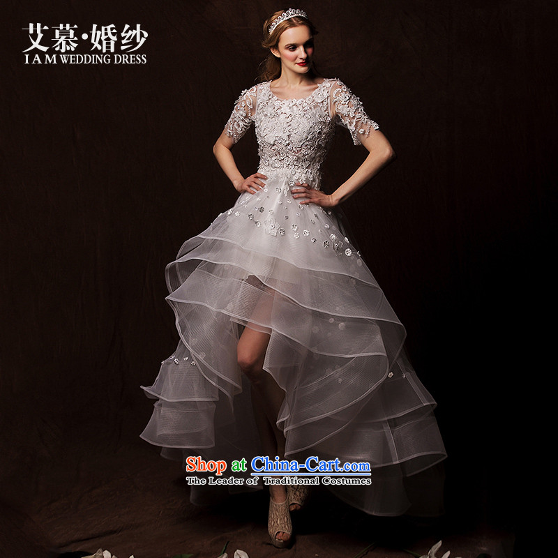 The wedding dresses HIV�2015 new feathers in the Advisory Committee before the personality after short-sleeved long lace wedding White�M