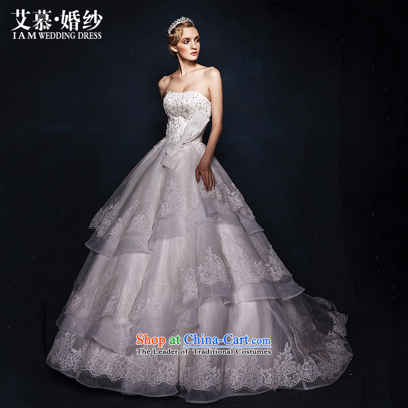 The wedding dresses HIV 2015 New Hee-ya wiping the breast height waist bon bon skirt trailing white wedding S
