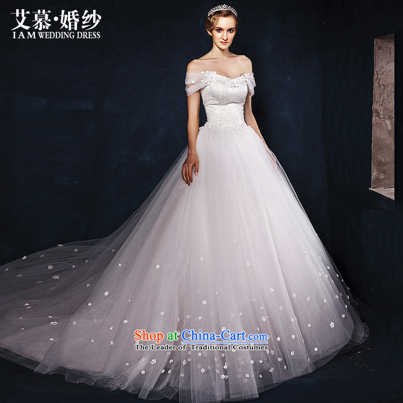 The wedding dresses HIV?2015 new arrangements with the word-hee chest shoulder length tail stars of the same White?M