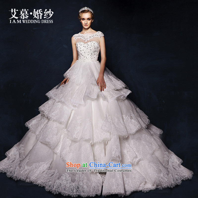 The wedding dresses HIV 2015 new detailed Nga lace Top Loin bon bon skirt tail wedding White?M