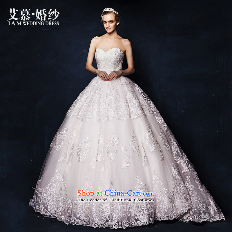 The wedding dresses HIV?2015 New Mute to wipe the chest lace bon bon skirt long tail wedding White?M