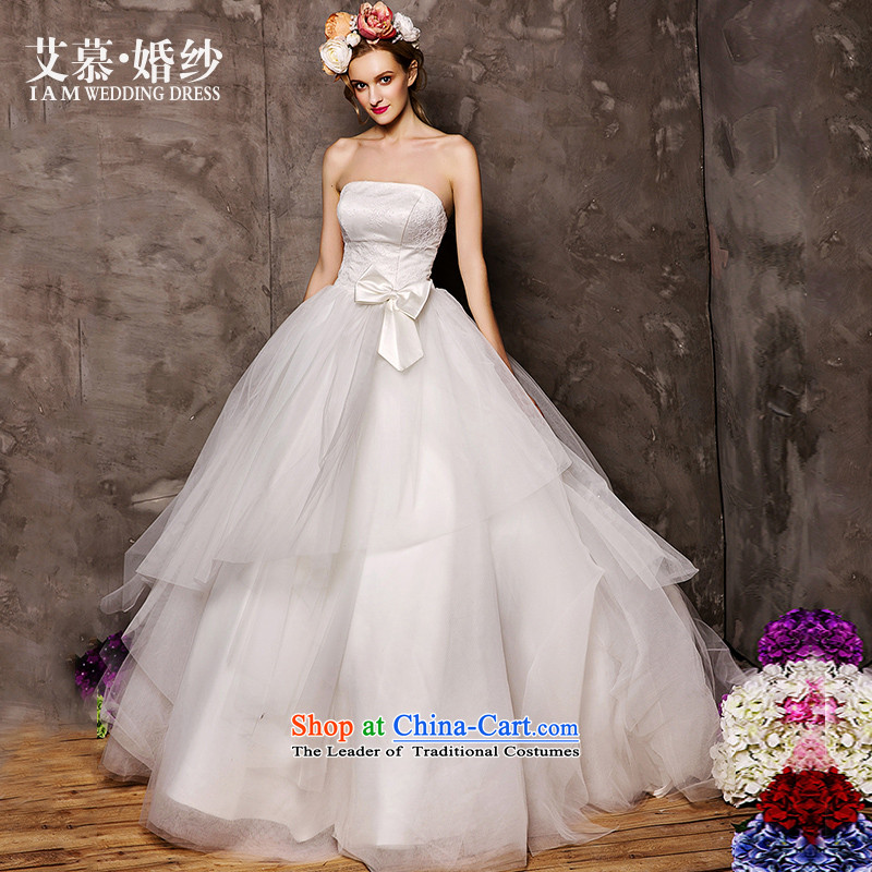 The wedding dresses HIV 2015 New Kam Yiu anointed chest Korean Bow Ties to align bon bon skirt white燣