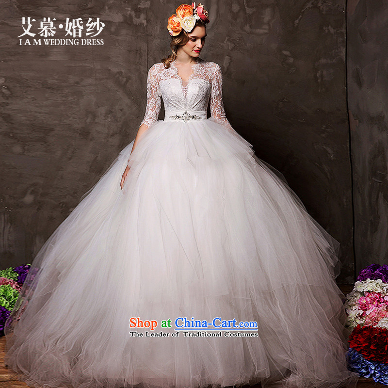 The wedding dresses HIV 2015 new proposals in depth V neon lace to align the Cuff bon bon skirt wedding white S