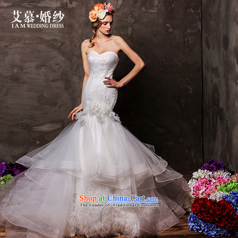 The wedding dresses HIV 2015 new butterfly filled with chest to align crowsfoot bon bon skirt wedding white燣