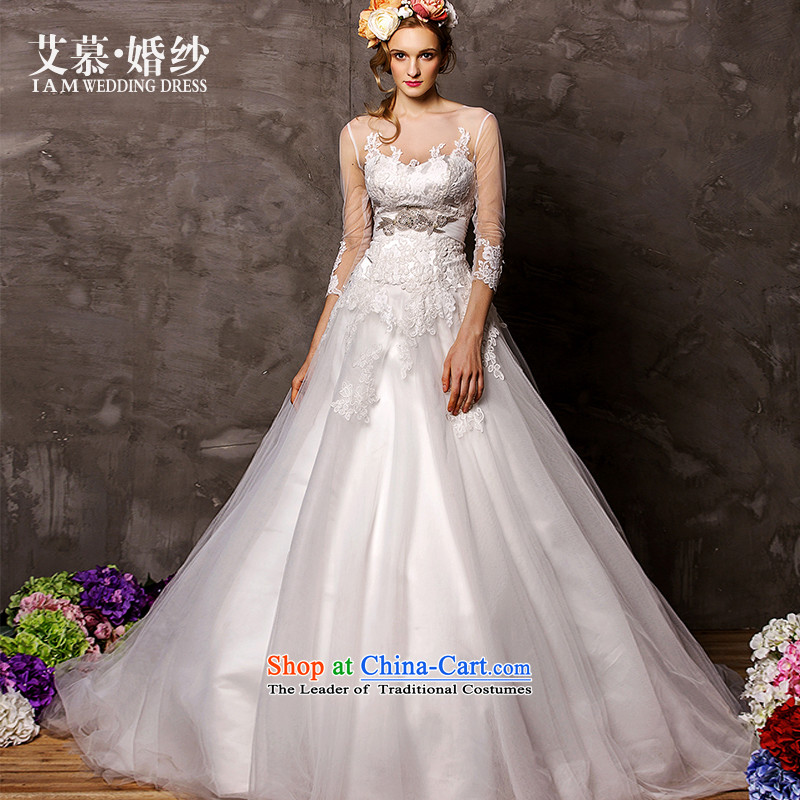 The wedding dresses HIV?2015 New Sui Man Wah long-sleeved lace align to bon bon skirt wedding White?M