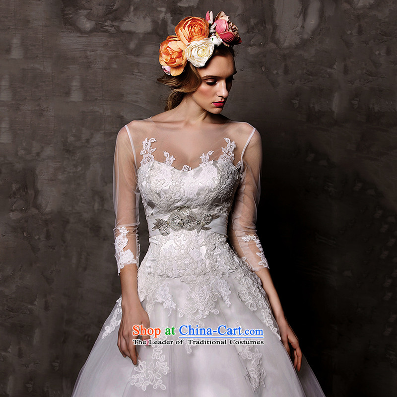 The wedding dresses HIV2015 New Sui Man Wah long-sleeved lace align to bon bon skirt wedding WhiteM, HIV in , , , shopping on the Internet