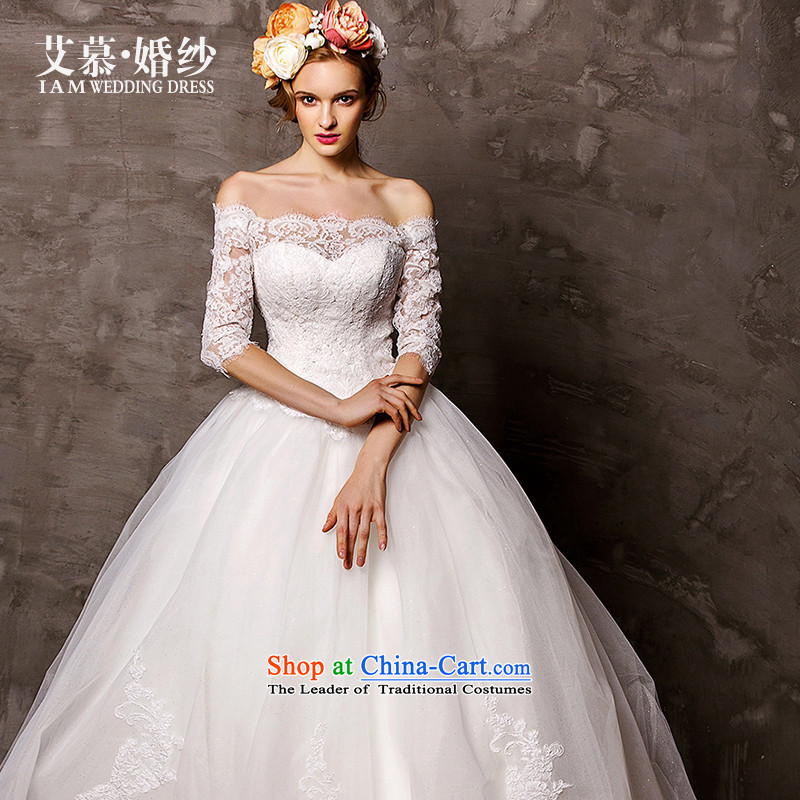 The wedding dresses HIV 2015 estimated in accordance with the new word-long sleeve shoulder lace bon bon skirt trailing white?M