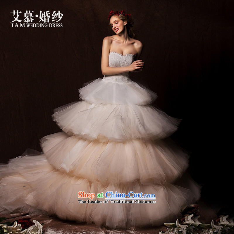 The wedding dresses HIV�15 New Cloud Hei anointed chest bon bon skirt around long tail wedding champagne gradient燤