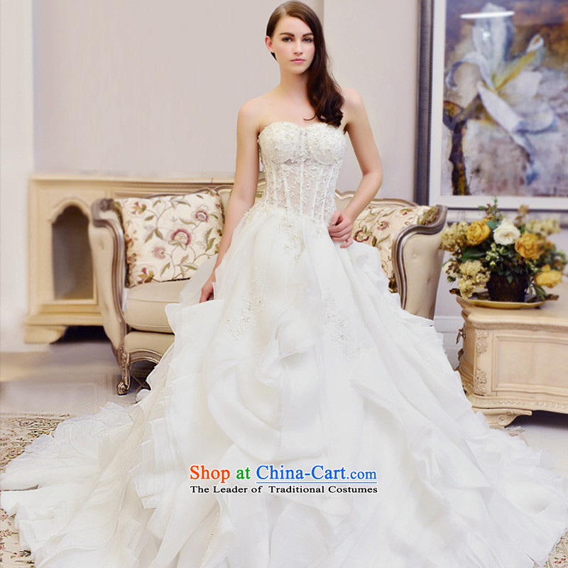 Full Chamber Fong wedding dresses new 2015 winter wiping the chest white lace stylish tail straps palace wedding tail 173-L 100cm