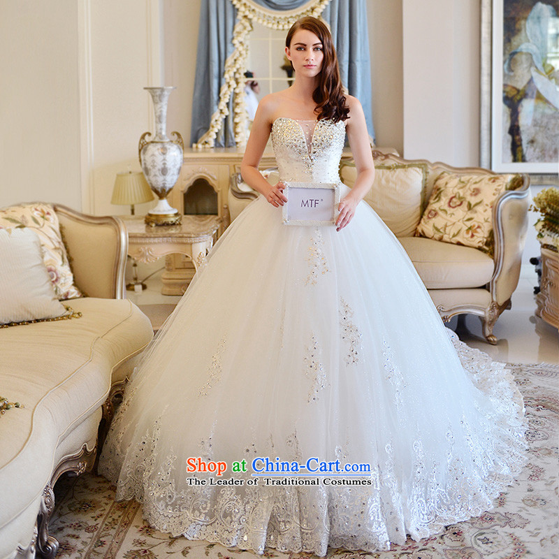 Full Chamber Fong wedding dresses new 2015 winter stylish Korean bon bon skirt drill sweet straps and chest wedding tail 173-L 150cm