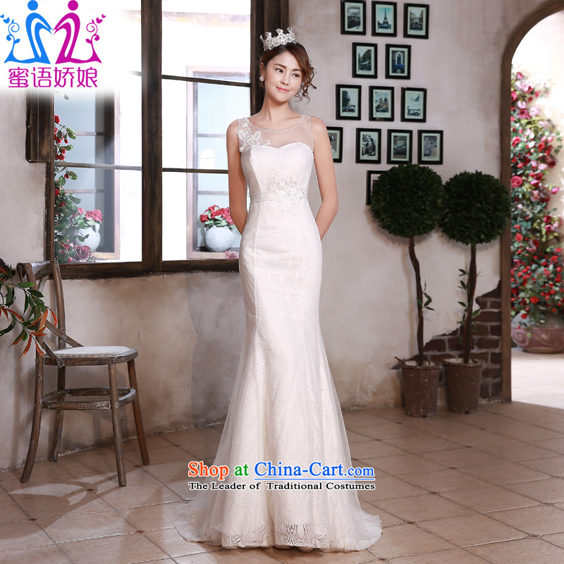 Talk to her wedding dresses new Word 2015 shoulder for Sau San Korean crowsfoot large stylish lace tail wedding white�L