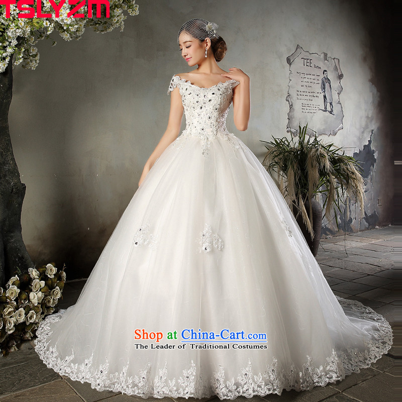 The word tslyzm shoulder length tail wedding dresses 2015605 autumn and winter new marriages V-Neck shoulders lace retro wedding Sau San skirt white streak wedding?M