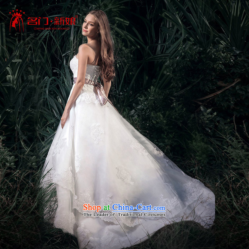 A bride wedding dresses�15 new lace straps wedding drill wedding overseas high card design A510 tail-made 25-day shipping