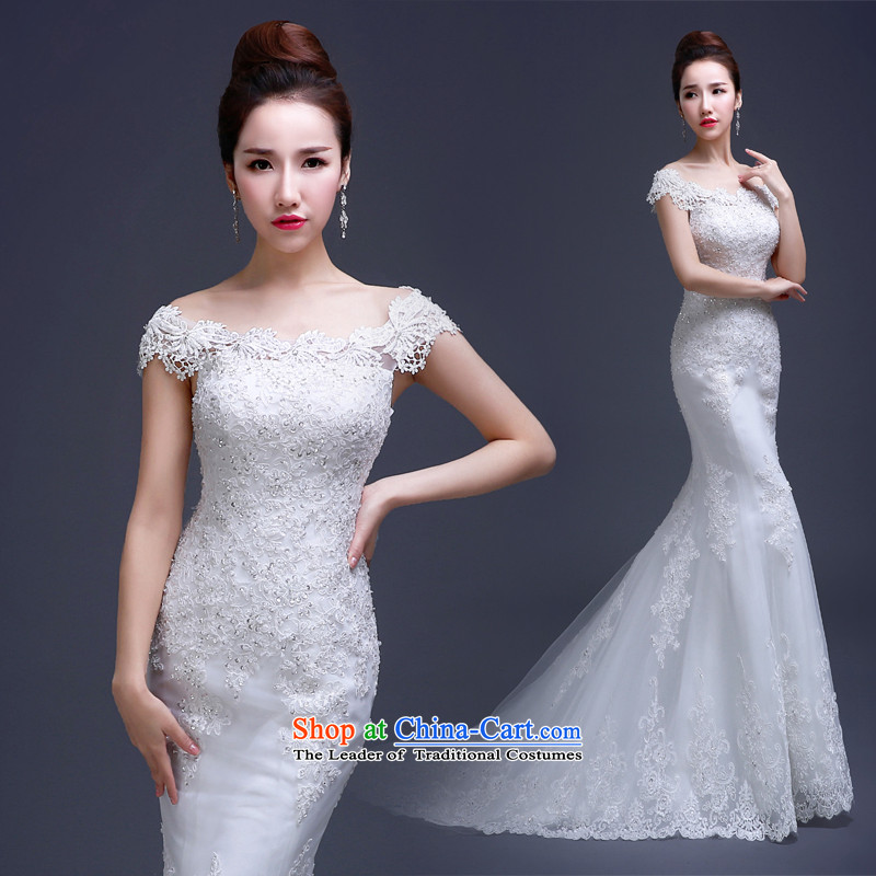 Lily Dance wedding dresses new Word 2015 winter stylish wedding small shoulder crowsfoot tail bride shoulders Sau San lace wedding female white S
