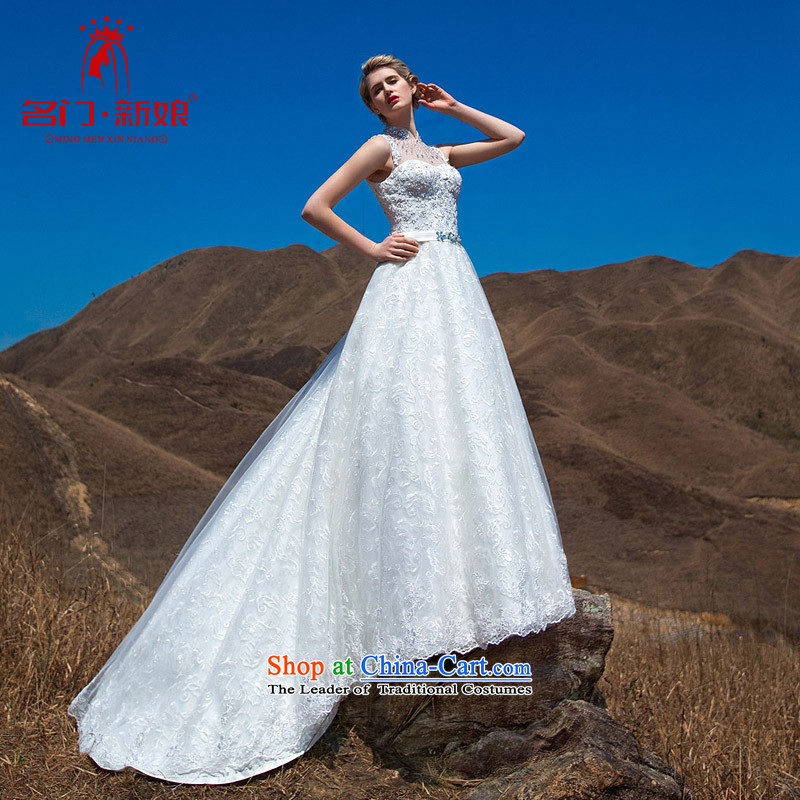 A?Stylish retro bride 2015 wedding retro collar lace tail wedding luxury drill made 573 25 flash day shipping