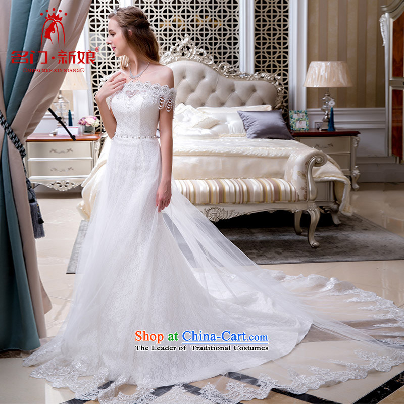 A Bride wedding dresses new Word 2015 shoulder tail winter wedding crowsfoot wedding 804 to 25 day shipping
