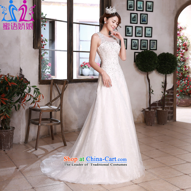 Talk to her wedding dresses new Word 2015 shoulder for Sau San small trailing stylish and elegant large graphics thin bride wedding White�XL