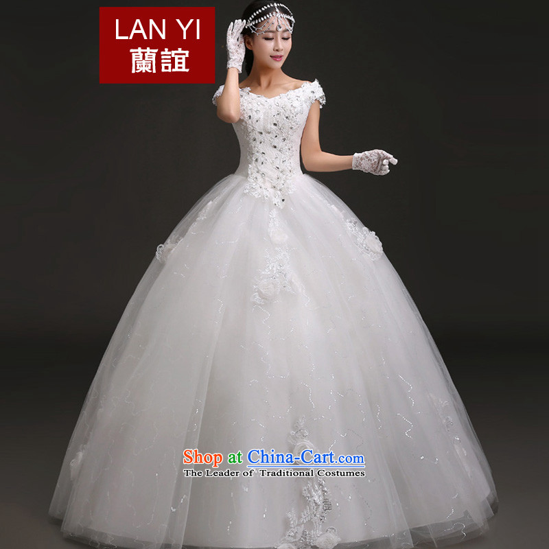 Estimated 2015 Korean friends new bride wedding straps to align the word shoulder bon bon skirt Princess Bride wedding dresses quality assurance M code 2 feet waist