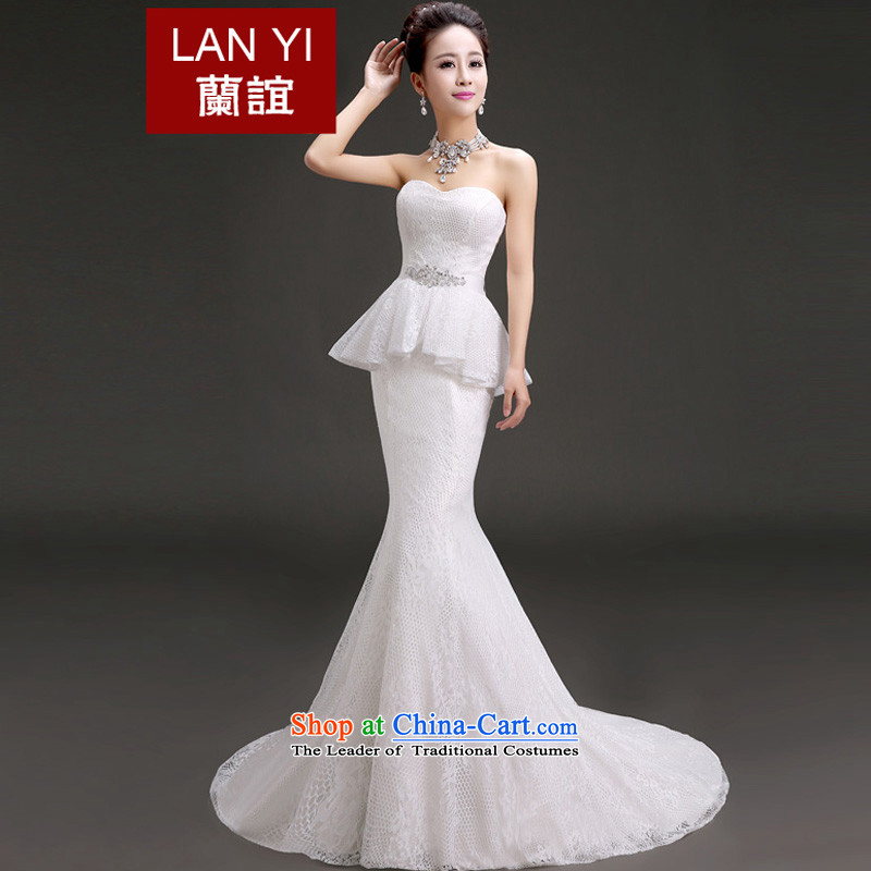 The Friends of wedding dresses 2015 new anointed chest small trailing crowsfoot Foutune of lace wedding Korean version wedding dresses thin white?L code waist 2.1 foot