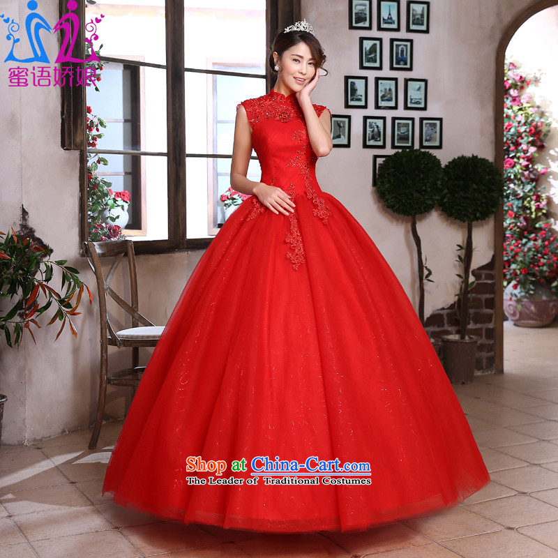 Talk to Her Wedding Dress 2015 Spring/Summer New Hepburn style reminiscent of the court to align the collar marriages red wedding red�XXL